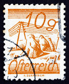 Postage stamp Austria 1925 Fields Crossed by Telegraph Wires — Stock Photo