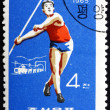 Stock Photo: Postage stamp North Kore1965 Javelin, Olympic sports