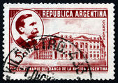 Postage stamp Argentina 1941 Carlos Pellegrini and Bank of the N — Stock Photo