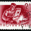 Stockfoto: Postage stamp Hungary 1955 Welder, Profession