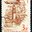 Postage stamp Hungary 1958 Plane over Sopron — Stock Photo