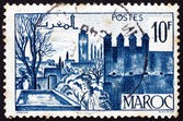Postage stamp French Morocco 1947 Gardens of Fez — Stock Photo