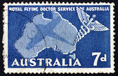 Postage stamp Australia 1957 Caduceus and Map of Australia — Stock Photo