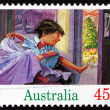 Postage stamp Australia 1992 Boy Jumping from Bed, Christmas - Stock Photo