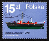 Postage stamp Poland 1988 Zar, Fire Boat — Stock Photo