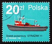 Francobollo polonia 1988 strazak 11, barca a fuoco — Foto Stock