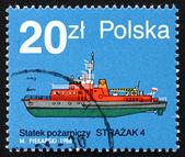 Briefmarke polen 1988 strazak 4, feuer-boot — Stockfoto