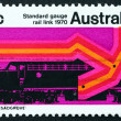 Postage stamp Australia 1970 Diesel Locomotive and New Track - Stock Photo