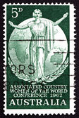 Postage stamp Australia 1962 Woman and Globe — Stock Photo