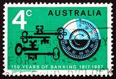 Postage stamp Australia 1967 Combination Lock and Antique Keys — Stock Photo