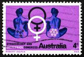 Timbre-poste australie 1967 assis femmes, symbole féminin — Photo
