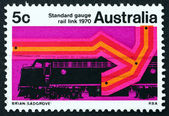 Postage stamp Australia 1970 Diesel Locomotive and New Track — Stock Photo