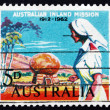 Postage stamp Australia 1962 Nurse and Rev. Flynn's Grave — Stock Photo