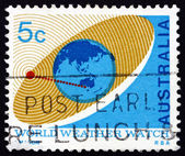 Postage stamp Australia 1968 Satellite Orbiting Earth — Stock Photo