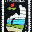 Postage stamp USA 1984 Flower in Hand, Conservation — Stock Photo