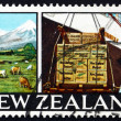 Foto Stock: Postage stamp New Zealand 1968 Dairy Farm in Taranaki