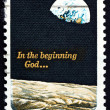 Postage stamp USA 1969 Moon Surface and Earth - Stock Photo