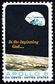 Postage stamp USA 1969 Moon Surface and Earth — Stock Photo
