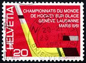 Postage stamp Switzerland 1961 Ice Hockey Stick and Puck — Stock Photo