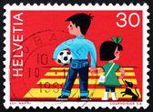 Postage stamp Switzerland 1969 Children Crossing Street — Stock Photo