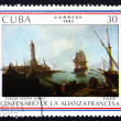 Stock Photo: Postage stamp Cub1983 Port, by Claude Joseph Vernet
