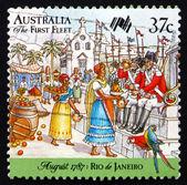 Postage stamp Australia 1987 First Fleet at Rio de Janeiro — Stock Photo