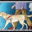 postage stamp gb 1981 guide dog leading blind man — Stock Photo