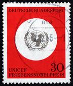 Znaczek emblemat unicef niemcy 1995 — Zdjęcie stockowe