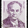Stock Photo: Postage stamp GDR 1974 Etkar Andre, Politician