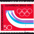 Postage stamp Germany 1976 Olympic Rings and Symbolic Mountains — Stock Photo