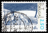 Postage stamp Portugal 1978 Children in Back Seat of Car — Stock Photo