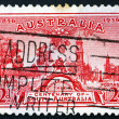 Postage stamp Australia 1936 Proclamation Tree and View of Adela - Stock Photo