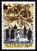Poštovní známka Austrálie 1990 scénu z druhé světové války — Stock fotografie
