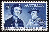 Postage stamp Australia 1960 Girl Guide and Lord Baden-Powell — Foto Stock