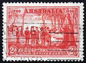 Postage stamp Australia 1937 Governor Arthur Phillip at Sydney C — Stock Photo