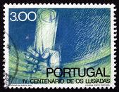 Postage stamp Portugal 1972 Hand Saving Manuscript — Stock Photo