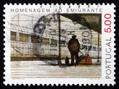 Postage stamp Portugal 1979 Emigrant at Railroad Station — Stock Photo