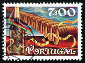 Postage stamp Portugal 1970 Wine Bottle and Barrels — Stock Photo
