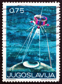 Postage stamp Yugoslavia 1971 Satellite and Globe — Stock Photo