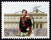 Postage stamp Portugal 1989 King Luis I and Ajuda National Palac — Stock Photo