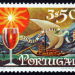 Postage stamp Portugal 1970 Glass of Wine and Barge with Barrels — Stock Photo