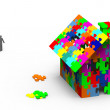 Jigsaw puzzle house — Stock Photo