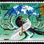 poštovní známka gb 1983 ptáci pod deštníkem — Stock fotografie
