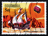 Postage stamp Colombia 1966 Spanish galleon, 16th century — Foto Stock