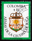 Postage stamp Colombia 1982 Arms of City of Buga — Stock Photo