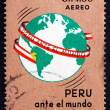 Postage stamp Peru 1967 Globe with Map of Peru — Stock Photo