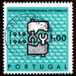 Postage stamp Portugal 1969 ILO Emblem - Stock Photo