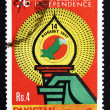 Postage stamp Pakistan 1983 Torch and Map of Pakistan - Stock Photo