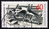 Postage stamp Germany 1989 Cats in the Attic, by Gerhard Marcks — Stock Photo