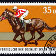 Postage stamp GDR 1974 British Thoroughbred Race Horse - Stock Photo